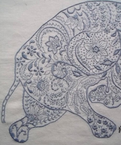 Embroidered elephant: detail of back part