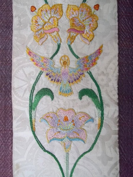 White liturgical stole: detail of hand embroidery