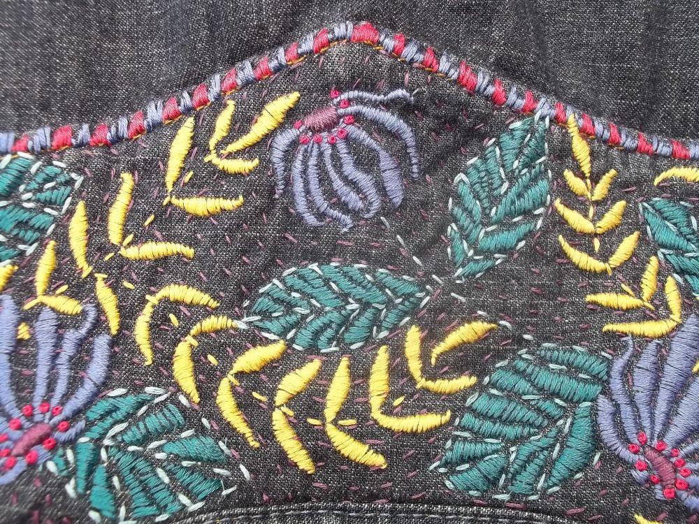 Embroidered denim shirt and the artist e a séguy addison