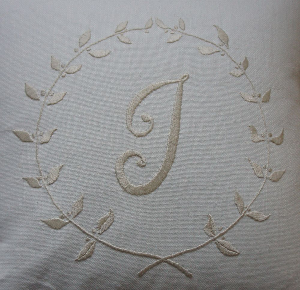 Ecru Embroidered Cushions With Initials  Addison