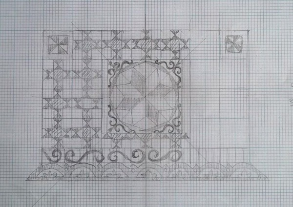 Ipsden Church, Oxon. Design 2. for altar frontal (Mary Addison)