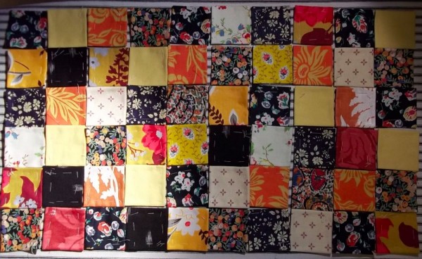 Loose pieces for patchwork, placed not sewn