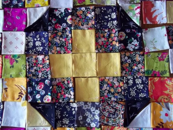 Playing around with patchwork squares as preparation for making an altar frontal
