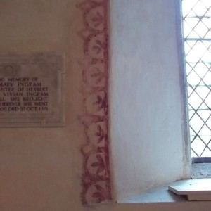Ipsden Church Oxon. Medieval wall painting: border around window