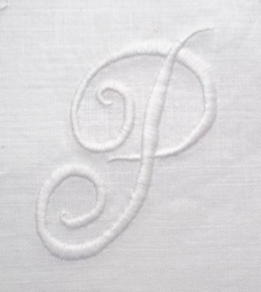 Monogram 'P': detail from honeysuckle embroidered whitework cushion cover (embroidery cotton on linen).