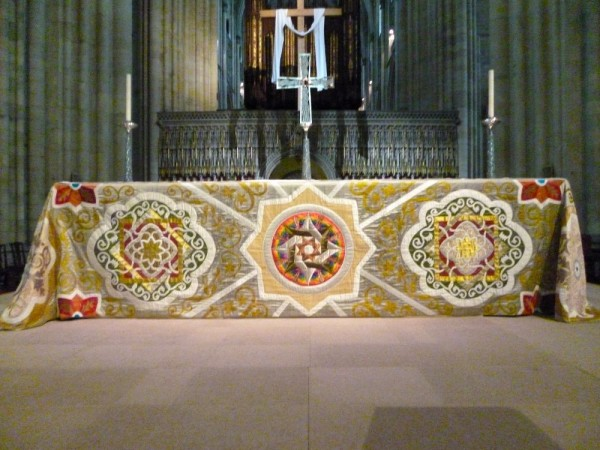 York Minster: stunning altar frontal by the Minster Broderers. Photograph kindly supplied by Jennifer Solomon