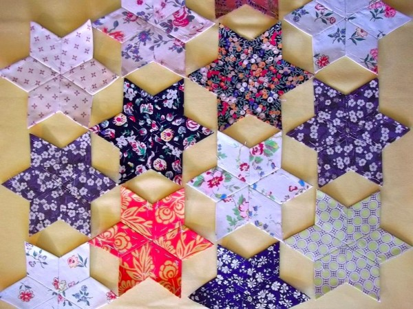 Altar frontal: 6 point patchwork stars in temporary lay out