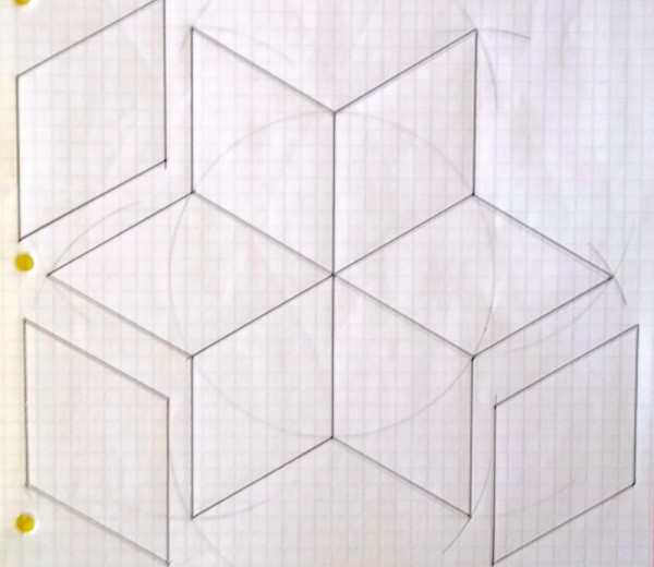 Construction of diamond patchwork template using compass and protractor
