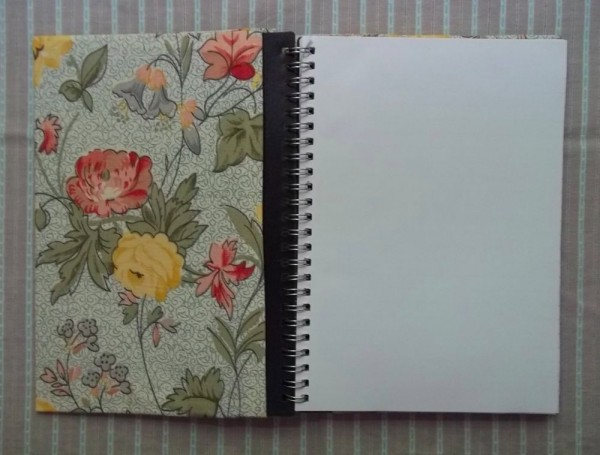 Slip cover for A5 notebook: insides showing flap that makes a useful pocket for loose papers