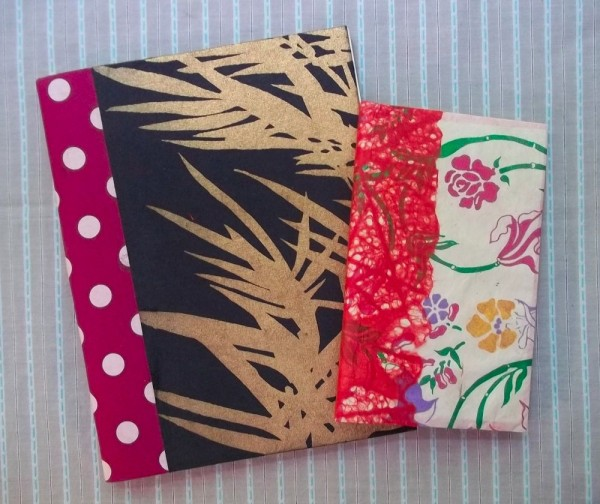 Exercise books covered with Japanese paper and fabric