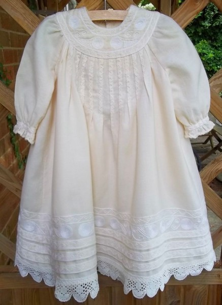 Christening dress with English smock embroidery (hand sewn and embroidered by Mary Addison