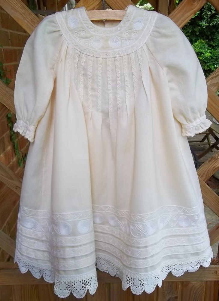 af2e6bc13af Christening dress with English smock embroidery (hand sewn and embroidered  by Mary Addison