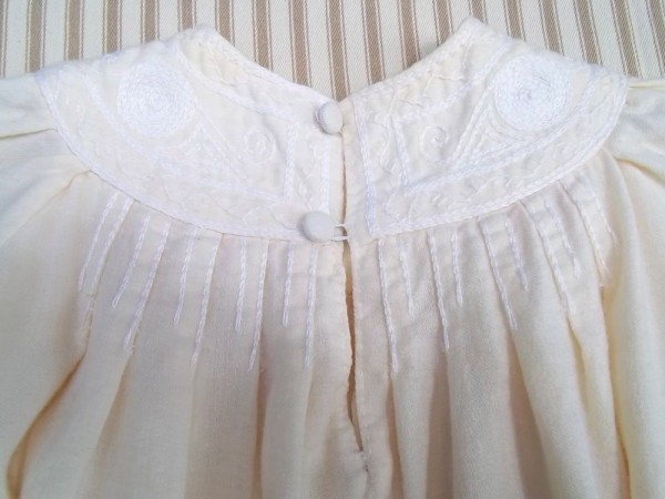 Christening dress with English smock embroidery: detail of back yoke (hand embroidered by Mary Addison)
