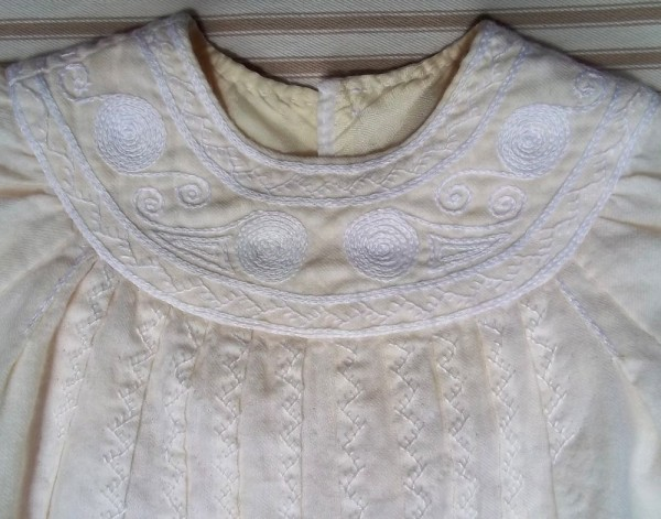 Christening dress in English smock embroidery: detail of yoke (hand embroidered by Mary Addison)