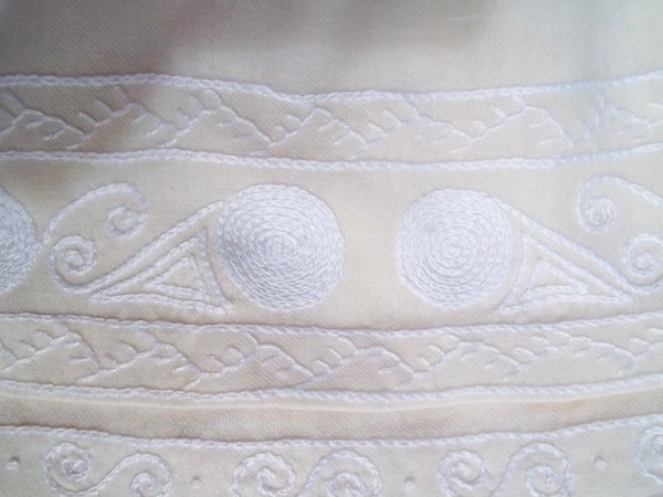Christening dress with English smock embroidery: detail