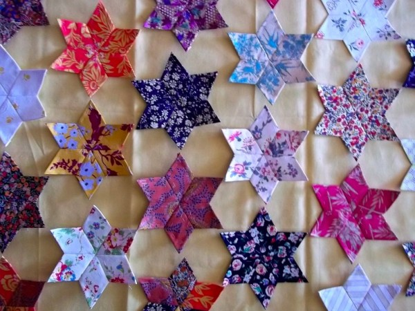 Patchwork altar frontal: hexagons as linking patches?