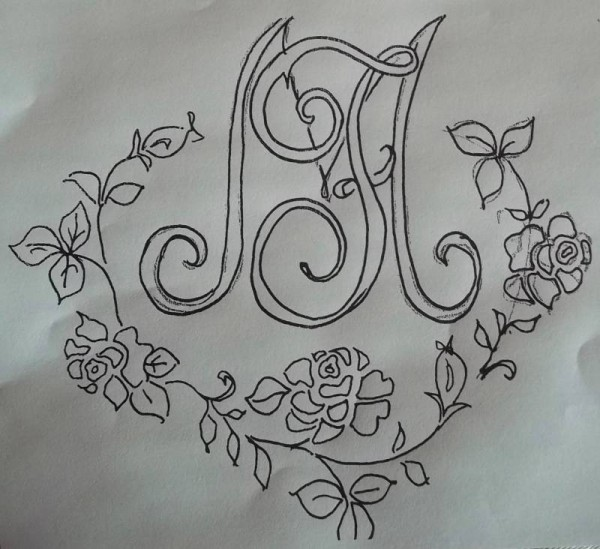 Abandoned design for F & M monogram: too F & M too contrived; wreath of roses ungainly