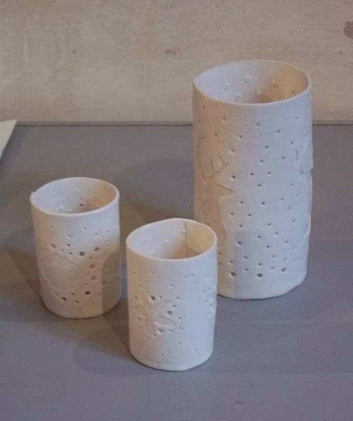 Rosie Holmes: candle holders (porcelain paper clay)
