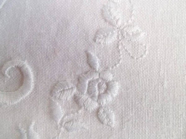 F&M hand embroidered monogram: detail
