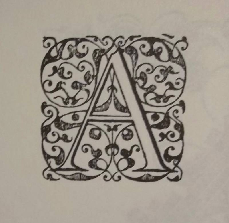 letter A from an alphabet probably by Jean Crespin at Geneva, post 1550 (from Decorative Alphabets and Initials: ed. Alexander Nesbit, Dover 1987)