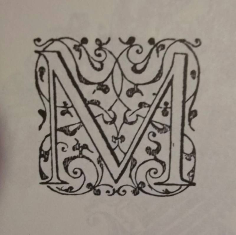 Letter M from an arabesque alphabet by Jean de Crespin of Geneva, post 1550 (from Decorative Alphabets and Initials; ed. Alexander Nesbitt, Dover, 1987)