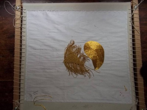 Gold work embroidery sampler (Mary Addison)