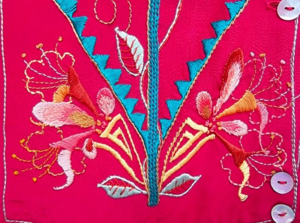 Lily and honeysuckle shirt: detail of hand embroidered front panel (Mary Addison)
