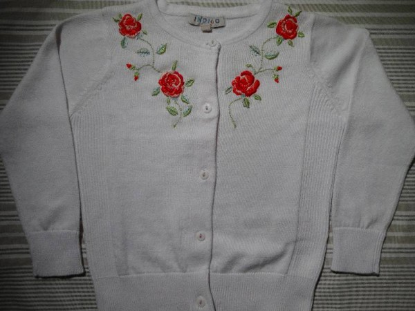 Rose embroidered cardigan for a 2 year old. (Hand embroidered by Mary Addison)