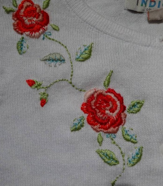 Rose embroidered cardigan: right front detail (hand embroidered by Mary Addison)