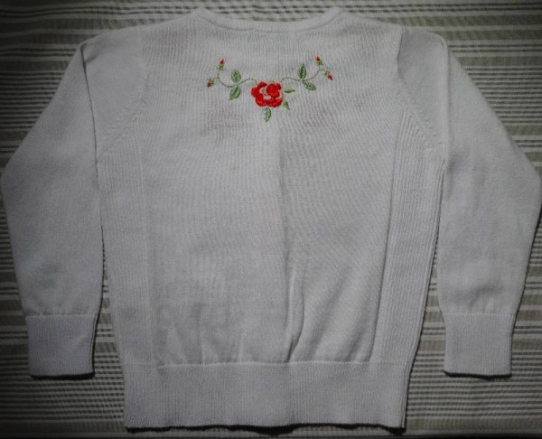 Rose embroidered cardigan for a 2 year old (hand embroidered by Mary Addison)