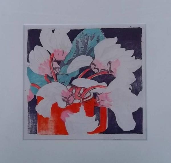 Mabel Royds: The Red Mug, Cyclamen, woodcut