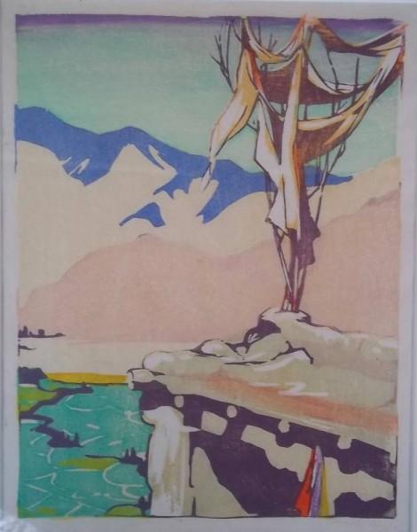 Mabel Royds: Tibetan flags woodcut