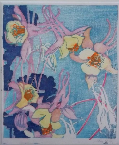 Mabel Royds 'Columbine' woodcut