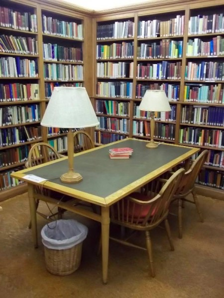 Balliol College Library: a corner of the Readijng Room with old library chairs