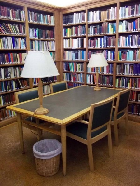Balliol College Library: corner of the Reading Room with new library chairs