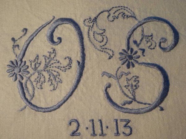 Double wedding monogram: blue on white linen (hand embroidered by Mary Addison)