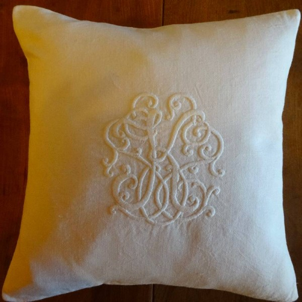 Whitework linen cushion: hand embroidered by Mary Addison