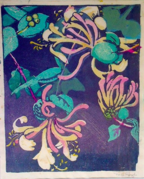 Mabel Royds 'Honeysuckle' wood cut