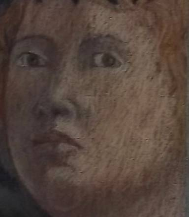 Angel: detail of face (from a copy by Claire Belfield of  an angel in Piero della Francesca's Baptism of Christ in the National Gallery in London)
