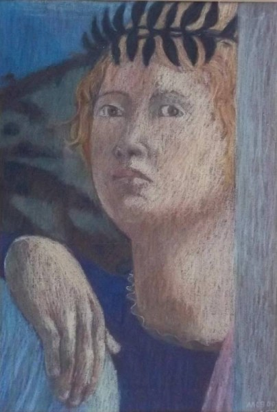 Angel by Clare Belfield (copied in pastel from Peiro della Francesca's Baptism of Christ in the National Gallery, London)