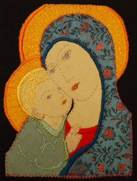Madonna and Child (2013 Christmas card: hand embroidered and appliquéd by Mary Addison)