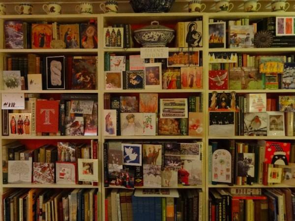 Christmas 2013: festive  bookshelves in the vicarage
