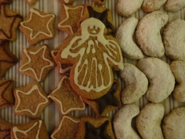 Christmas Biscuits: left to right - gingerbread stars and  kipferl