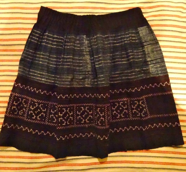 Vietnamese skirt showing batik and embroidered panels. (old and probably  originally part of a much bigger and longer traditional garment).