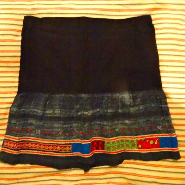 Vietnamese skirt showing detail of batik and embroidered and appliquéd panels (skirt restyled and rescued from original garment)