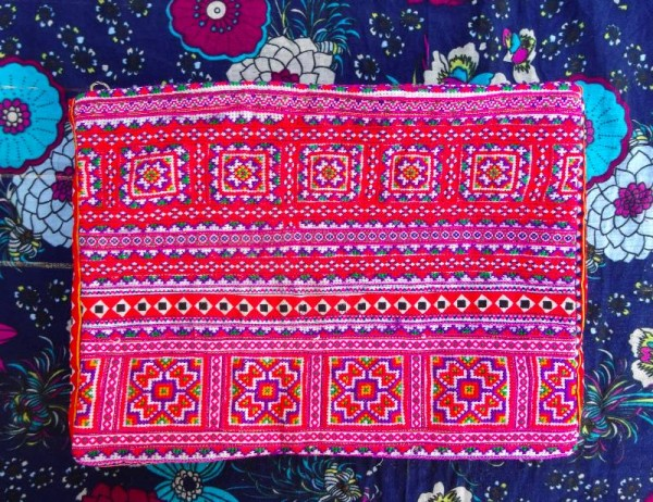 Modern Vietnamese purse with appliqué and hand embroidered cross stitch panels