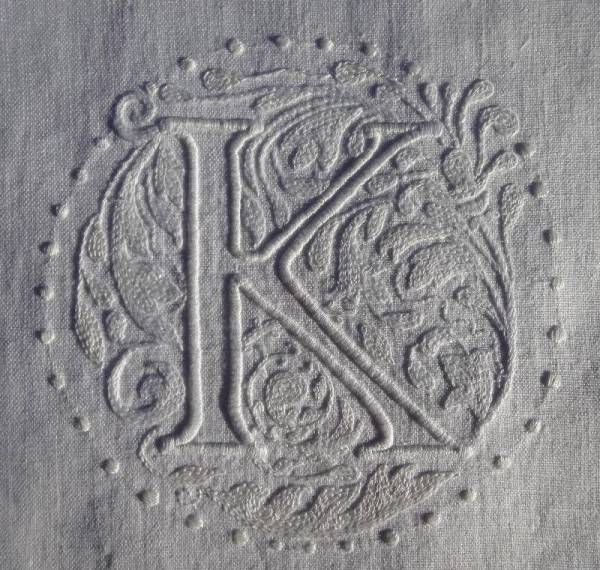 Whitework letter K in Renaissance style (hand embroidered by Mary Addison)