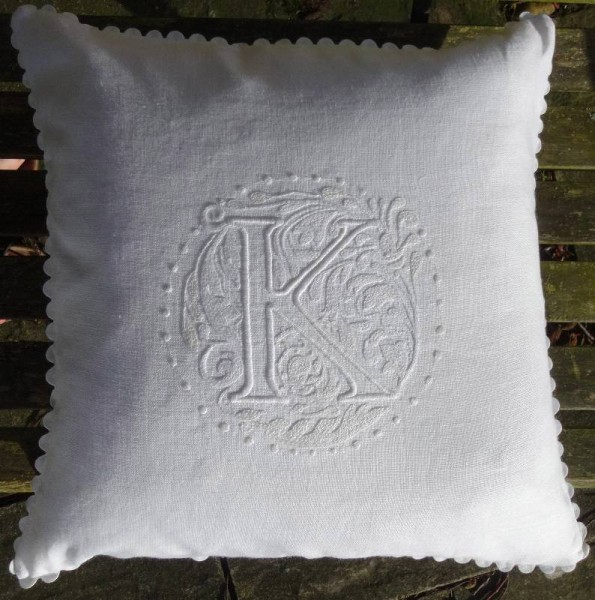 K monogram cushion in whitework: white embroidery thread on white linen (hand embroidered by Mary Addison)