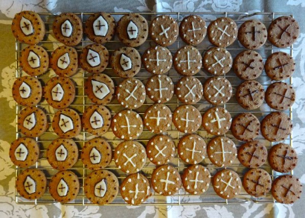 Gingerbread decorated with marzipan Bishop's mitres and icing crosses
