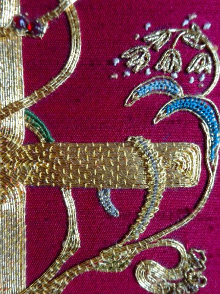 Embroidered goldwork bible in Balliol Library: detail of front (hand embroidered by Pauline Johnstone).